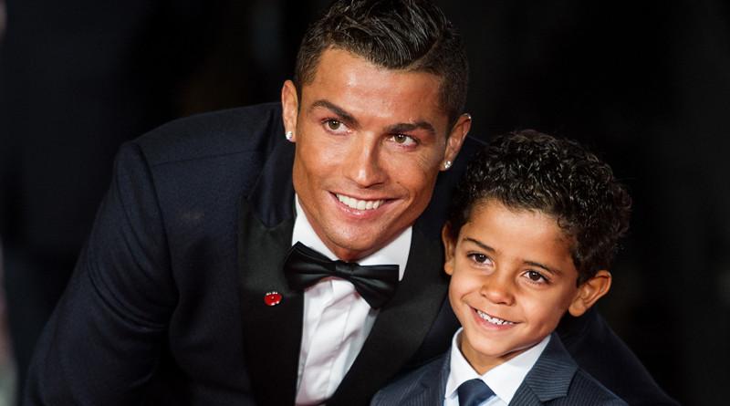 Soccerplayer Cristiano Ronaldo and son Cristiano Ronaldo Jr attending the world premiere of Ronaldo in London.