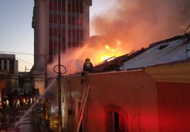 Incendio en el centro de la capital