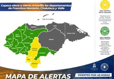 COPECO eleva a Alerta Amarilla los departamentos de Francisco Morazán, Choluteca y Valle