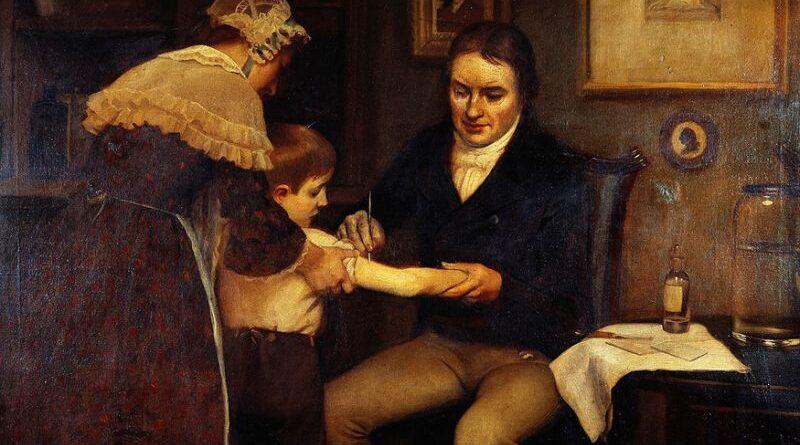 El doctor Jenner realizando sus primeras vacunaciones infantiles en 1796. Oleo de Ernes Board. (Imagen vista en Wikimedia Commons)